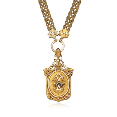 C. 1920 Vintage .12 ct. t.w. Diamond Locket Necklace in 14kt Yellow Gold, , default