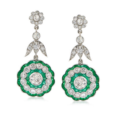 C. 2000 Vintage 3.73 ct. t.w. Diamond and 2.60 ct. t.w. Emerald Drop Earrings in 18kt White Gold, , default