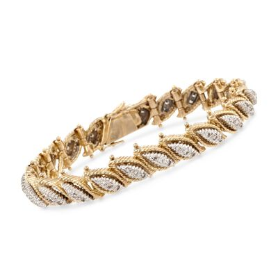 C. 1970 Vintage 2.00 ct. t.w. Diamond Leaves Bracelet in 18kt Two-Tone Gold, , default