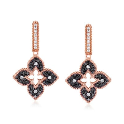 "Roberto Coin ""Venetian Princess"" .83 ct. t.w. Black and White Diamond Flower Drop Earrings in 18kt Rose Gold"