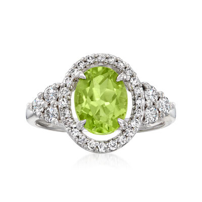 C. 1990 Vintage 2.04 Carat Peridot Ring with .50 ct. t.w. Diamonds in 14kt White Gold