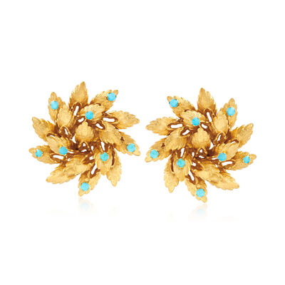 C. 1960 Vintage 2.5mm Reconstituted Turquoise Floral Clip-On Earrings in 18kt Yellow Gold, , default