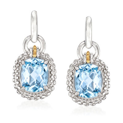 "Phillip Gavriel ""Popcorn"" 6.00 ct. t.w. Blue Topaz Drop Earrings in Sterling Silver with 18kt Yellow Gold"