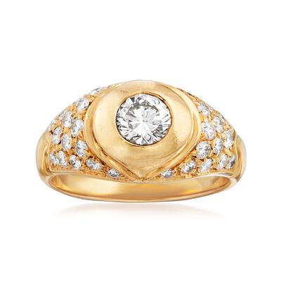 C. 1980 Vintage Bulgari .90 ct. t.w. Diamond Ring in 18kt Yellow Gold, , default