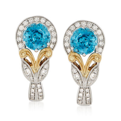 Simon G. 2.96 ct. t.w. Blue Zircon and .23 ct. t.w. Diamond Earrings in 18kt  Two-Tone Gold