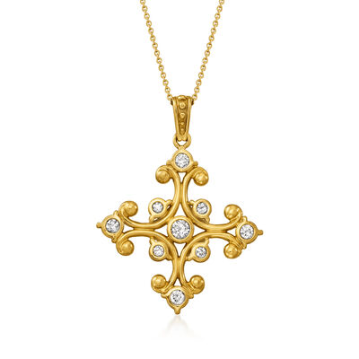C. 1990 Vintage .80 ct. t.w. Diamond Cross Pendant Necklace in 14kt Yellow Gold