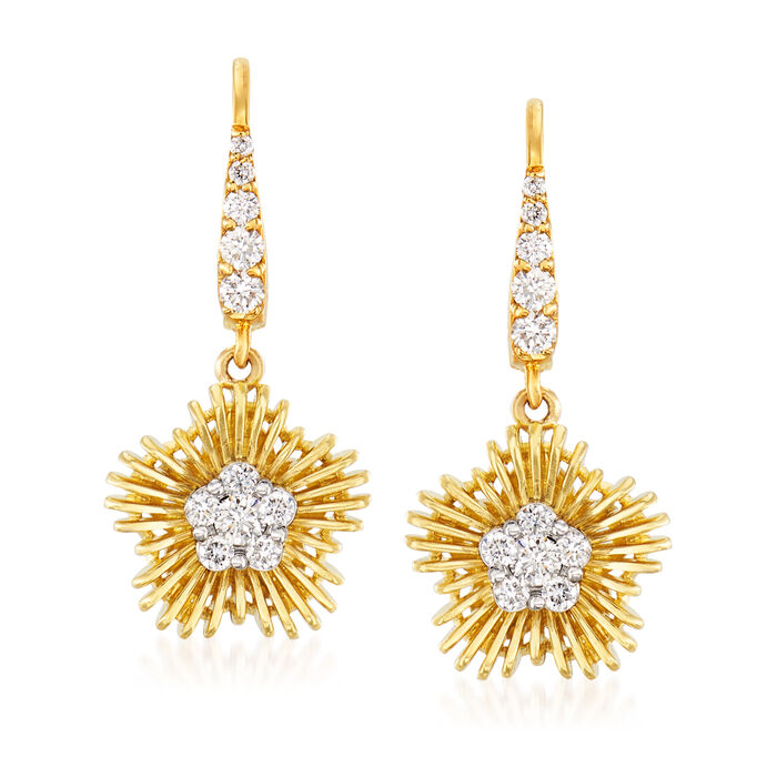 Simon G. .44 ct. t.w. Diamond Flower Drop Earrings in 18kt Yellow Gold