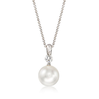 C. 1990 Vintage 10mm Cultured Pearl and .20 Carat Diamond Pendant Necklace in 18kt White Gold