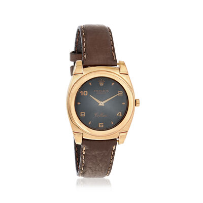 C. 1980 Vintage Rolex Cellini Men's 35mm Manual Watch with Brown Leather in 18kt Yellow Gold, , default