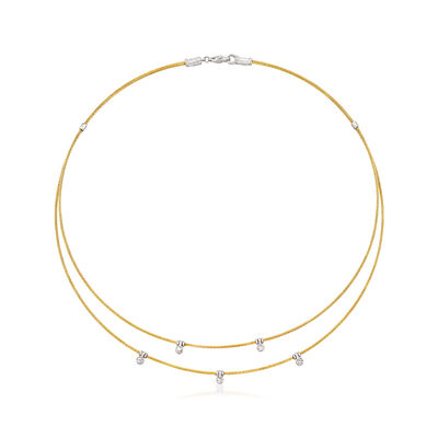 "ALOR ""Classique"" .11 ct. t.w. Diamond Double-Row Station Yellow Cable Necklace with 18kt White Gold, , default"