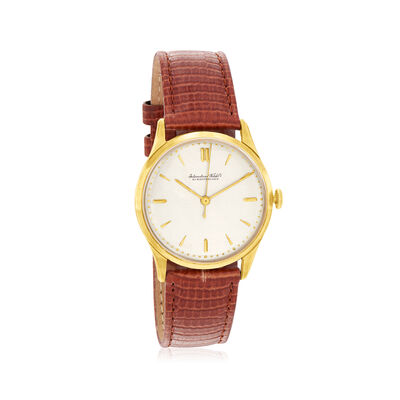 C. 1950 Vintage Iwc Schaffhausen 18kt Yellow Gold Watch with Brown Leather Strap