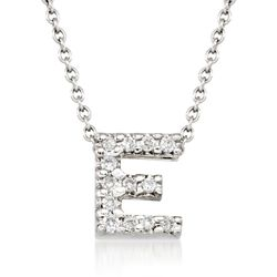 "Roberto Coin ""Tiny Treasures"" Diamond Accent Initial ""E"" Necklace in 18kt White Gold, , default"