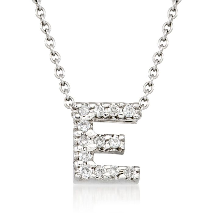 "Roberto Coin Tiny Treasures Diamond E Necklace in 18-Karat White Gold. 16"", , default"