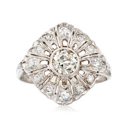 C. 1950 Vintage .65 ct. t.w. Diamond Cluster Ring in 14kt White Gold, , default