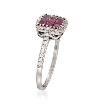 Gregg Ruth .66 Carat Total Weight Ruby and .23 Carat Total Weight Diamond Ring in 18-Karat White Gold. Size 7, , default