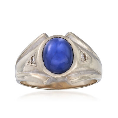 C. 1970 Vintage Men's Synthetic Sapphire Ring with Diamond Accents in 14kt White Gold