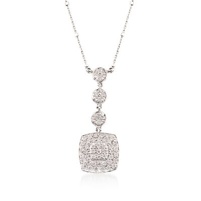 ALOR .46 ct. t.w. Diamond Multi-Tier Square Pendant Necklace in 18kt White Gold, , default