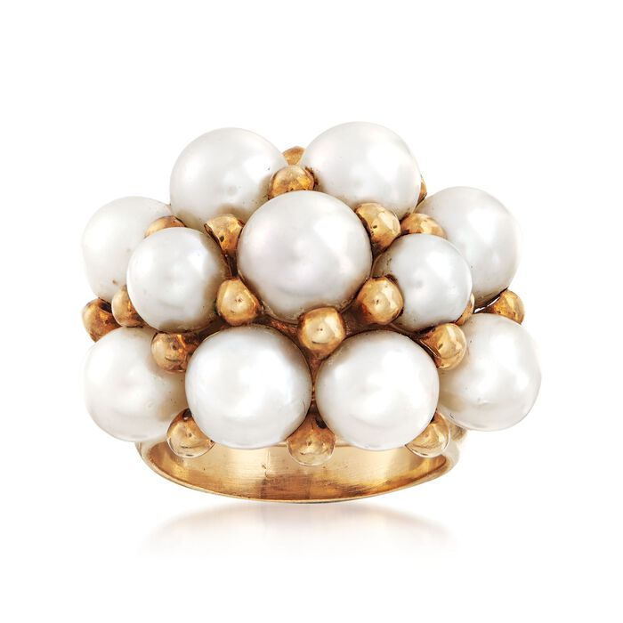 C. 1960 Vintage 4mm Cultured Pearl Cluster Ring in 14kt Yellow Gold. Size 7.5, , default