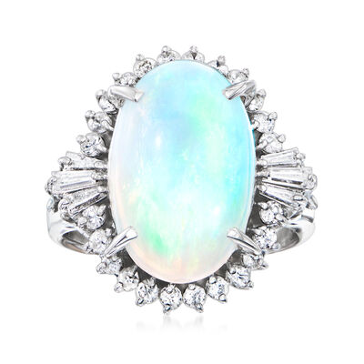 C. 1980 Vintage Opal Ring with .60 ct. t.w. Diamonds in Platinum