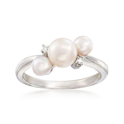 "Mikimoto ""Bubbles"" 4-6mm A+ Akoya Pearl Ring with Diamond Accents in 18kt White Gold"