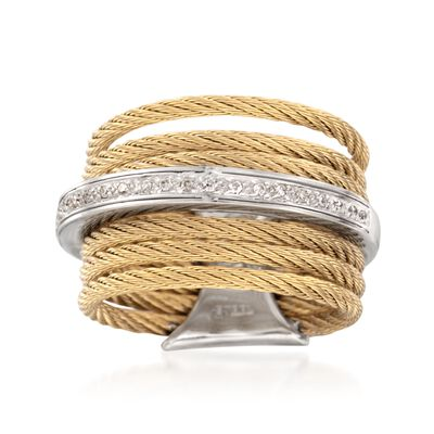 "ALOR ""Noir"" Yellow Stainless Steel Cable Ring with Diamonds and 18kt White Gold, , default"