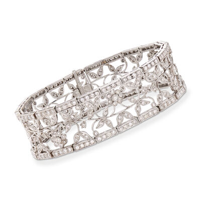 C. 1990 Vintage 5.00 ct. t.w. Diamond Floral Bracelet in 18kt White Gold