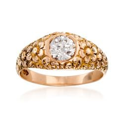 C. 1950 Vintage .87 Carat Diamond Floral Ring in 10kt Yellow Gold, , default