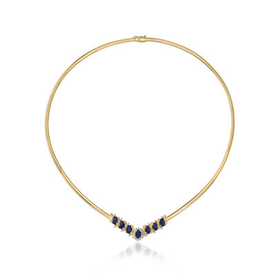 C. 1980 Vintage 4.20 Sapphire and .25 ct. t.w. Diamond Necklace in 14kt Yellow Gold, , default