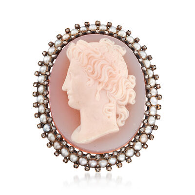 C. 1930 Vintage Pink Agate and 1.20 ct. t.w. Diamond Shell Cameo Pin with Cultured Pearls in 18kt Gold
