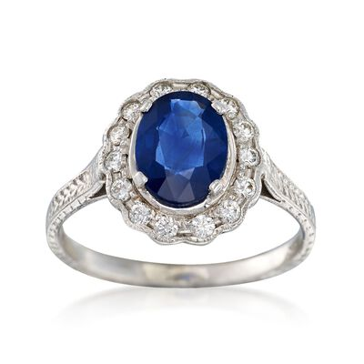 C. 2000 Vintage 1.26 Carat Sapphire and .25 ct. t.w. Diamond Ring in 14kt White Gold, , default