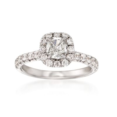 Henri Daussi 1.20 ct. t.w. Diamond Halo Engagement Ring in 18kt White Gold, , default