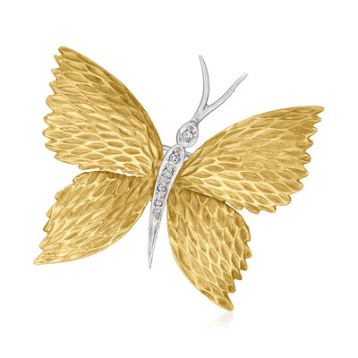 C. 1970 Vintage 18kt Two-Tone Gold Butterfly Pin with Diamond Accents