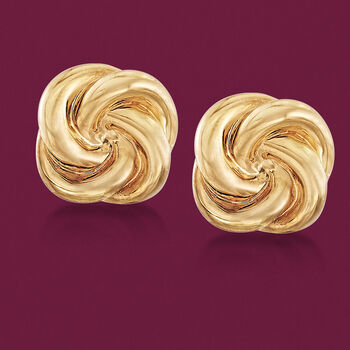 Italian 14-Karat Yellow Gold Swirl Earrings, , default