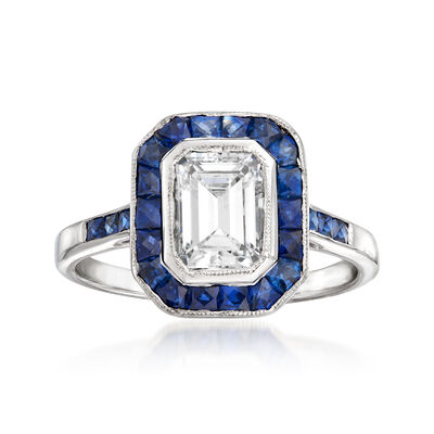 C. 1990 Vintage 1.05 Carat Diamond and 1.20 ct. t.w. Sapphire Ring in 18kt White Gold