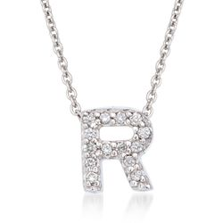 "Roberto Coin ""Tiny Treasures"" Diamond Accent Initial ""R"" Necklace in 18kt White Gold, , default"