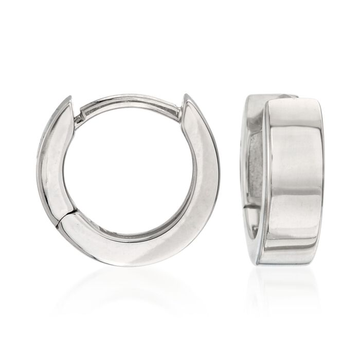 Roberto Coin Simple Hoops in 18-Karat White Gold, , default