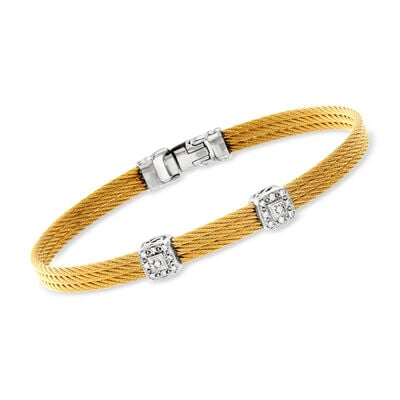 "ALOR ""Classique"" Yellow Stainless Steel Cable Double-Station Bracelet with Diamonds and 18kt White Gold"