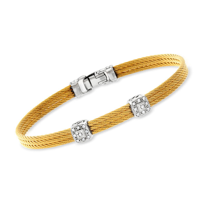 """ALOR Classique Diamond Dual-Station Bangle in Yellow Stainless Steel and 18-Karat White Gold. 7"""", , default"""