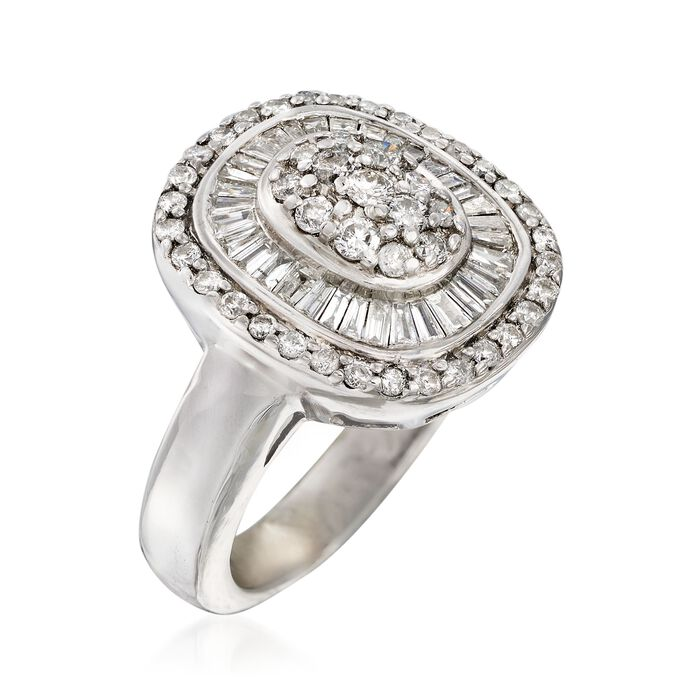 C. 1990 Vintage 1.20 ct. t.w. Diamond Cluster Ring in 14kt White Gold