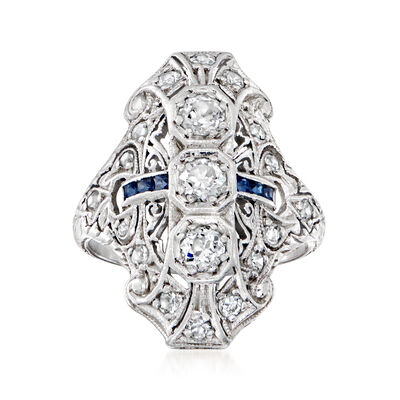 C. 1950 Vintage .90 ct. t.w. Diamond and .20 ct. t.w. Sapphire Dinner Ring in Platinum
