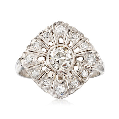 C. 1950 Vintage .65 ct. t.w. Diamond Cluster Ring in 14kt White Gold