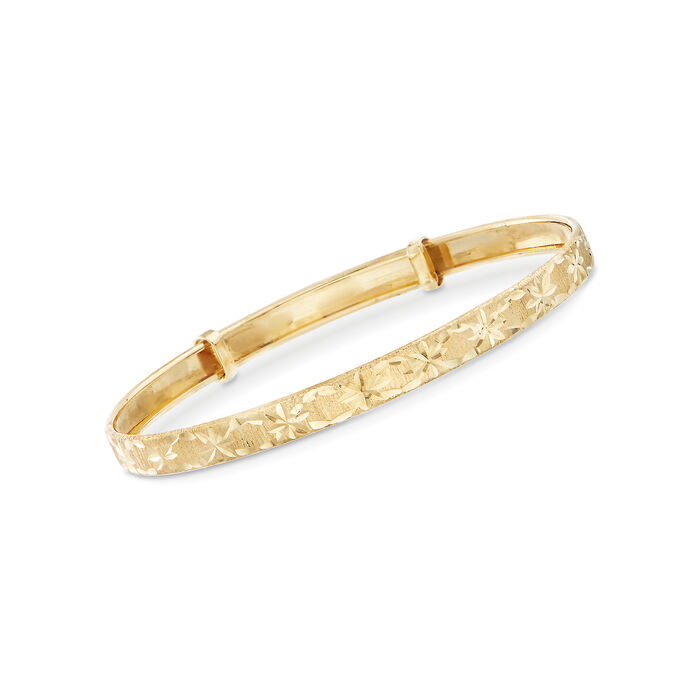 Child's 14kt Yellow Gold Diamond-Cut Bangle Bracelet, , default