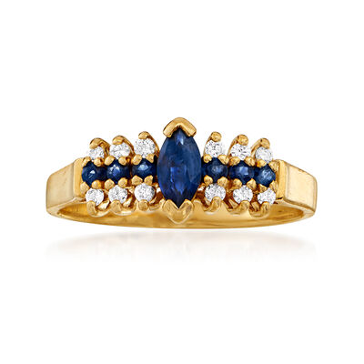C. 1990 Vintage .50 ct. t.w. Sapphire and .15 ct. t.w. Diamond Ring in 14kt Yellow Gold