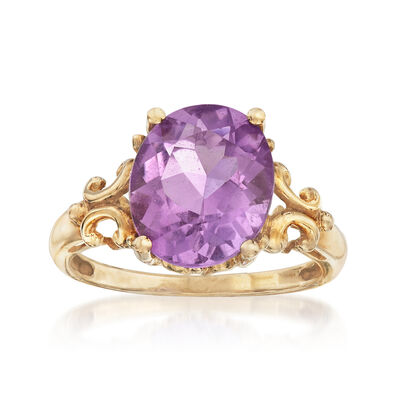 C. 1990 Vintage 4.00 Carat Amethyst Ring in 10kt Yellow Gold, , default