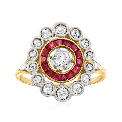 C. 1980 Vintage .60 ct. t.w. Diamond and .45 ct. t.w. Synthetic Ruby Ring in 18kt Two-Tone Gold