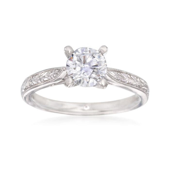 Gabriel Designs 14kt White Gold Engagement Ring Setting. Size 6.5, , default