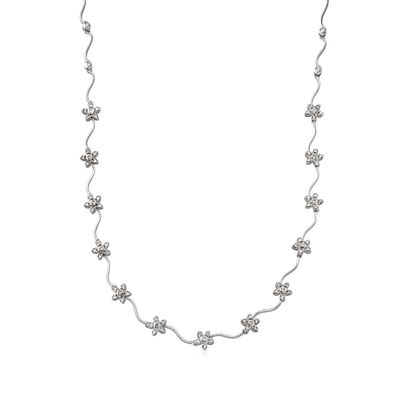 C. 1990 Vintage 1.00 ct. t.w. Diamond Floral Station Necklace in 14kt White Gold, , default