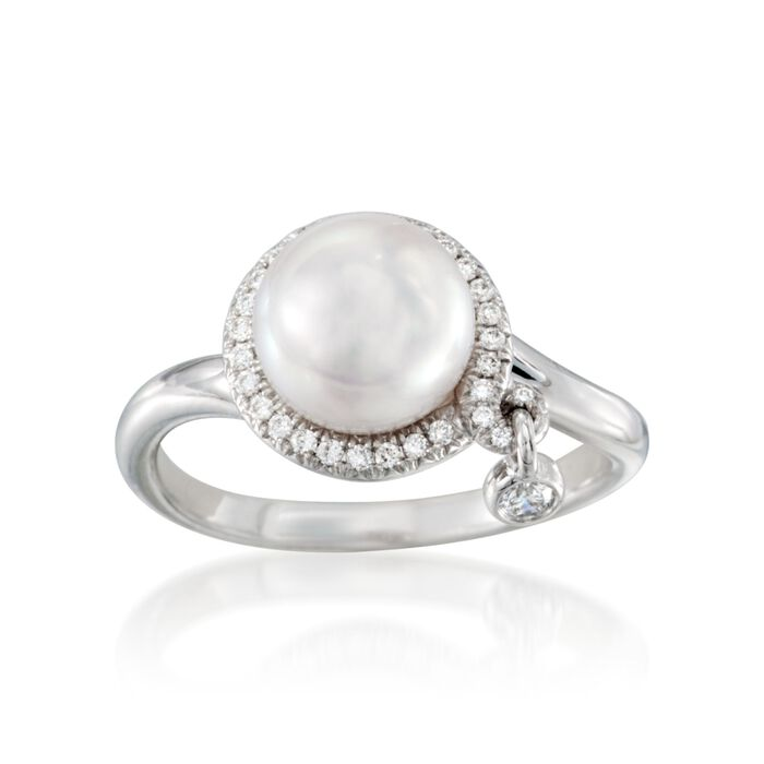 Mikimoto Akoya Pearl and Diamond Halo Ring in 18-Karat White Gold. Size 7, , default
