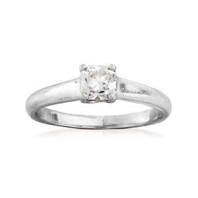 C. 1990 Vintage Tiffany Jewelry .53 Carat Diamond Solitaire Ring in Platinum, , default
