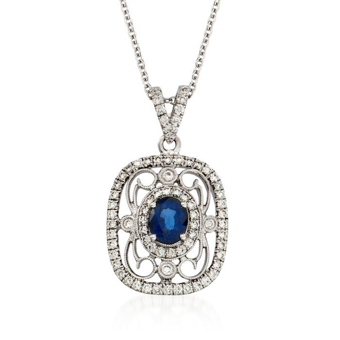 "Simon G. .60-Carat Sapphire and Diamond Necklace. 17"", , default"